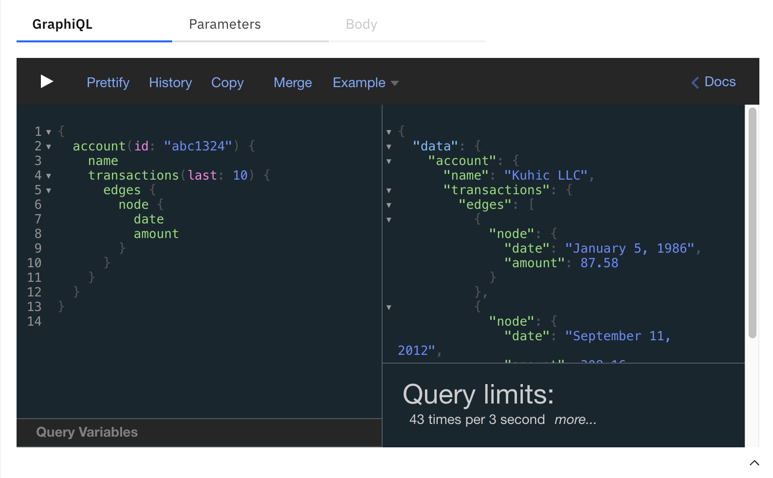 GraphiQL with medium GraphQL query limited to 43 transactions per 3 seconds
