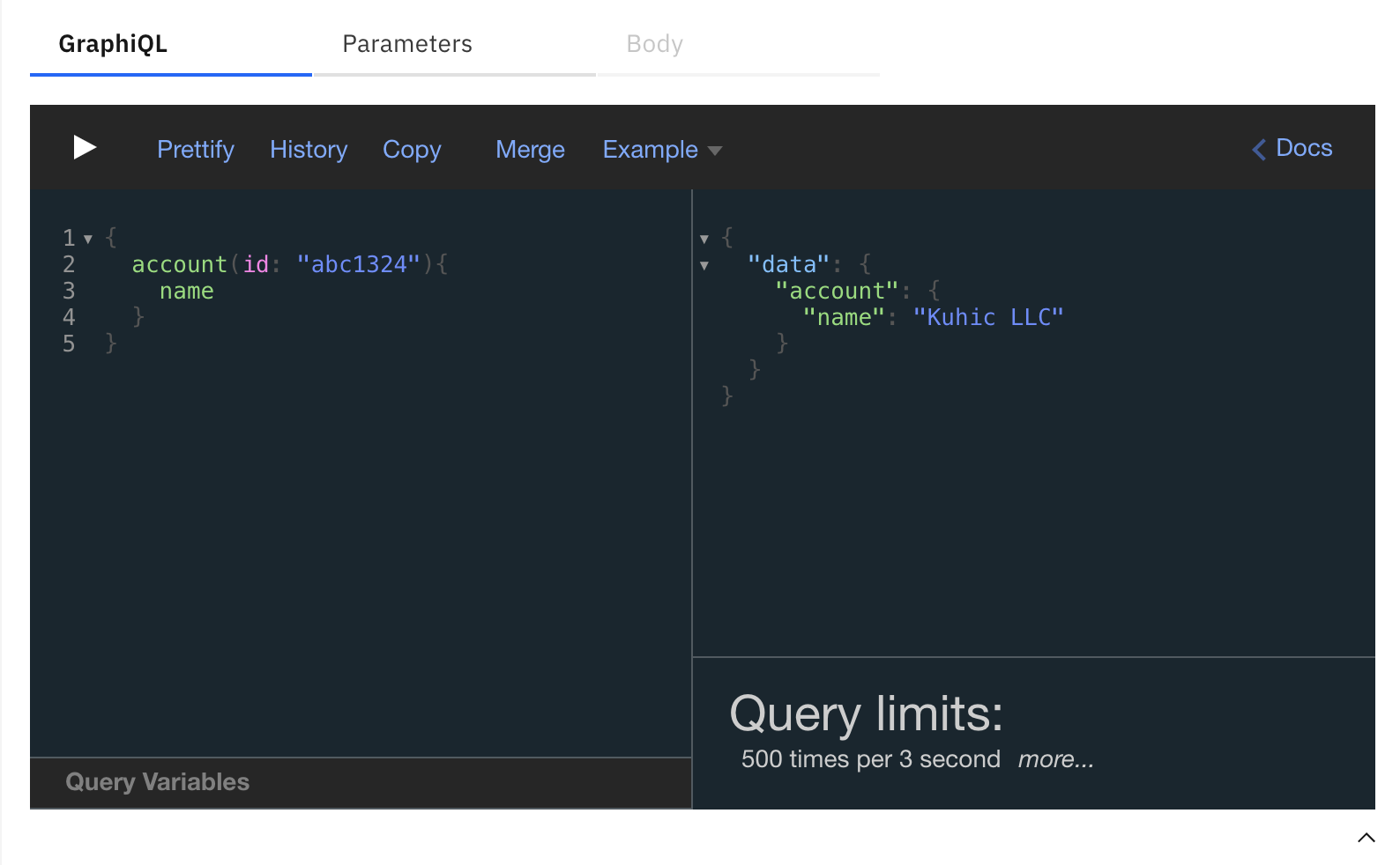 GraphiQL with small GraphQL query limited to 500 transactions per 3 seconds