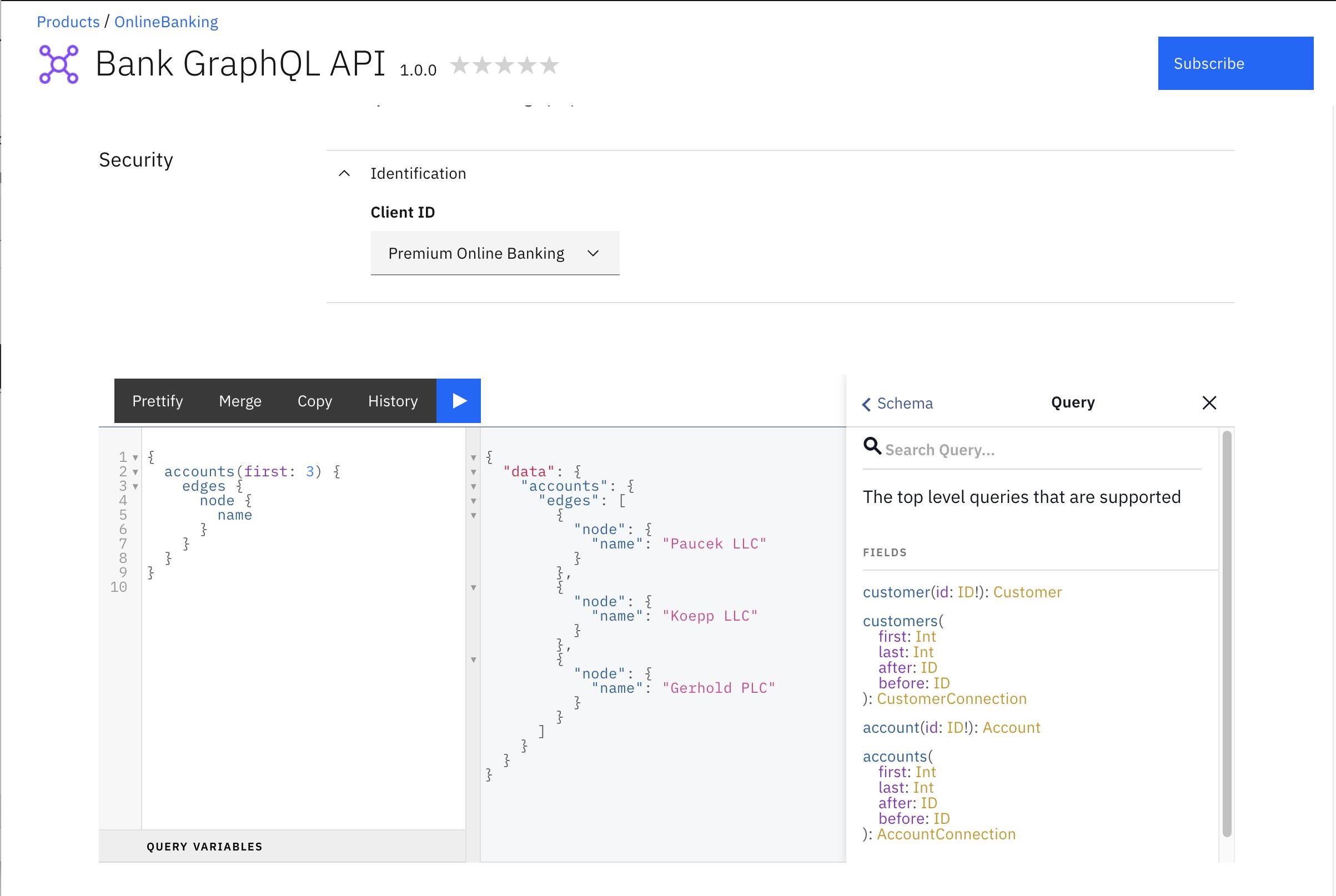 Developer Portal Try It tab for Gold Plan